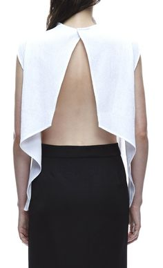 Chic white split back top, contemporary fashion details // Third Form