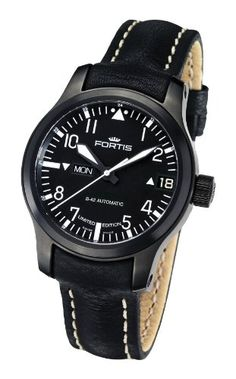 Fortis | Review Fortis Men's 655.18.91 L.01 B-42 Flieger Big Date PVD Black Automatic Day and Date Leather Watch By Fortis
