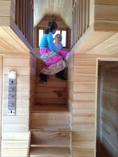 Tinywood Homes folding staircase. This isn't a Tiny House on wheels, but the concept could work. I can't quite figure out how the loft is configured here. Two lofts side by side?