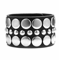 """Black Genuine Leather Bracelet with Large and Small Chrome Studs and adjustable button snap closure Crazy2Shop. $5.95. Width: 1 3/4"""". Length: 7 1/2"""". Features: Large and Small Chrome Studs. Material: Genuine Leather. Adjustable Size: Yes adjustable button snap closure"""
