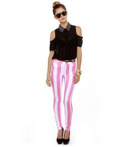 motel jordan pink striped skinny jeans. reminds me of victoria's secret's interior walls.