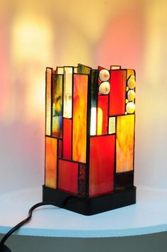 Stained glass lamp.  Pia Van Leuven.