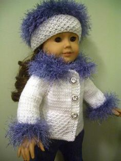 "KNITTING (hand-knit) PATTERN for BEGINNER to fit AMERICAN GIRL 18"" DOLL"