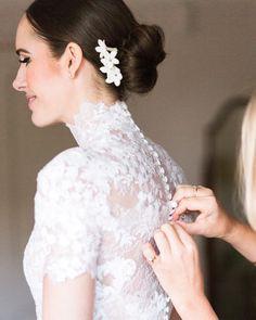 Louise Roe Pronovias wedding gown button details