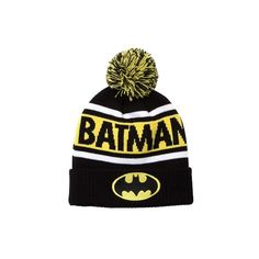Batman Beanie ($2,000) ❤ liked on Polyvore featuring accessories, hats, striped beanie, pom pom hat, knit pom hat, knit beanie and logo hats