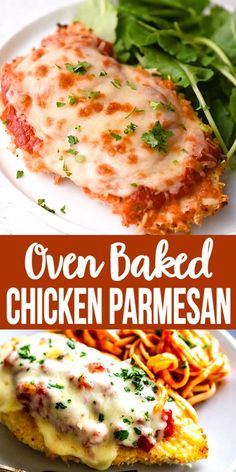 This delicious Oven Baked Chicken Parmesan recipe is easy and doesn& require any frying. Because this chicken Parmesan is baked, it is healthy, quick and easy! Make this crispy baked Parmesan crusted chicken for dinner tonight in about thirty minutes! Comida Diy, Comida Keto, Fun Easy Recipes, Good Healthy Recipes, Quick Easy Lunch Ideas, Christmas Dinner Recipes, Easy Italian Recipes, Easy Meal Ideas, Simple Recipes For Dinner