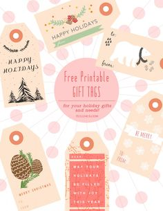 Free Gift Tag Printables.  Just set printer to high quality print setting, print onto thick cardstock, cut out and punch a hole at the top!