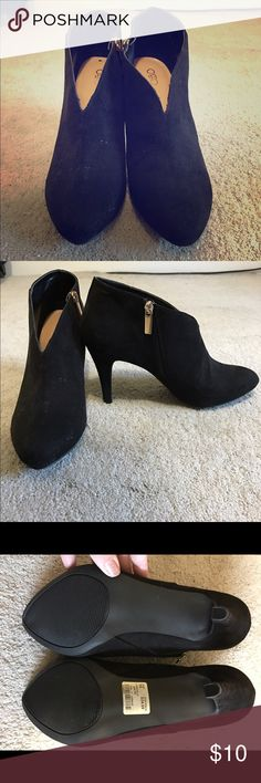 Size 10 black heels Size 10 Cato black heels with gold zipper new never worn super cute Cato Shoes Heeled Boots