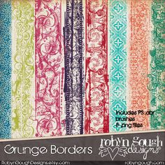 Decorative Grunge Photoshop Clipart Brushes - Digital Scrapbook Brushes - abr photoshop brushes Grunge Borders Clip Art by Robyn Gough Designs on Etsy