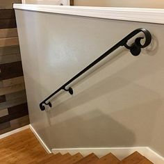 13 Ft Wrought Iron Wall Rail Hand Rail Stair Step Railing Wall Mount Handrail Elegant Scroll Design Made in the USA Iron Handrails, Wrought Iron Stair Railing, Wall Railing, Stair Railing Design, Wrought Iron Decor, Stair Handrail, Staircase Railings, House Staircase, Staircases
