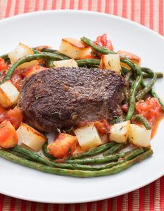Not much can compare to a wholesome, classic steak dinner. In this recipe, we're taking that experience (sides and all) and adding special, seasonal flare. You'll also serve juicy bavette steaks with roasted potatoes and a summery sauté of toasted garlic, tomato and long beans.