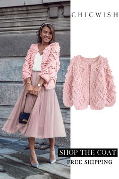 Knit Your Love – Strickjacke in Pink - Cardigan stricken Mode Outfits, Skirt Outfits, Casual Outfits, Knitwear Fashion, Knit Fashion, Womens Fashion, Boho Mode, Mode Rose, Crochet Jacket