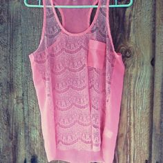 """Peachy pink lace tank by Papaya sz. M  EUC Breezy sheer lace front with a small accent pocket and a loose fit. Gorgeous peach color.  25"""" from shoulder to hem. EUC 100% Polyester. Papaya Tops Tank Tops"""