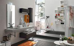 Mobile bagno legno rovere ardesia/zucca opaco. Lavabo cemento grigio. Very cool! #milano