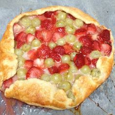 Gooseberry & Strawberry rough-edged tart (baked by my Dad)