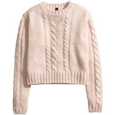 H&M Cable-knit jumper ($7.20) ❤ liked on Polyvore featuring tops, sweaters, tops/outerwear, pink, cable knit jumper, chunky cable sweater, jumpers sweaters, pink cable knit sweater and pink long sleeve top