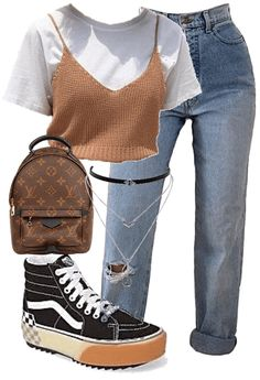 Discover outfit ideas for college made with the shoplook outfit maker. How to wear ideas for Jessica Simpson Silver Silver-Tone and jeans Baddie Outfits Casual, Kpop Fashion Outfits, Girls Fashion Clothes, Indie Outfits, Swag Outfits, Retro Outfits, Cute Casual Outfits, Stylish Outfits, Polyvore Outfits Casual