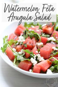This Watermelon Feta Salad recipe is a sweet, salty, and refreshing dish for your summer cookouts. It's a healthy summer recipe that's sure to satisfy. Healthy Summer Recipes, Easy Salads, Healthy Salad Recipes, Greek Recipes, Side Dish Recipes, Vegetarian Recipes, Cooking Recipes, Watermelon Feta Salad Recipes, Watermelon And Feta