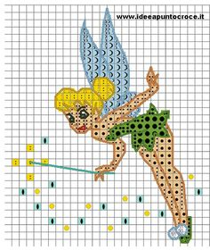 ingrandimento trilly schema peter pan Cross Stitch Disney, Disney Cross Stitch Patterns, Cross Stitch Fairy, Cross Stitch For Kids, Cross Stitch Bookmarks, Beaded Cross Stitch, Cross Stitch Charts, Cross Stitch Embroidery, Tinker Bell