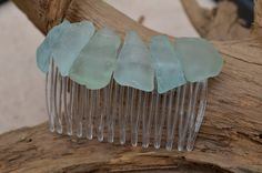 Aqua and Sea Foam Beach Glass / Sea Glass Hair Comb with great ocean colors!