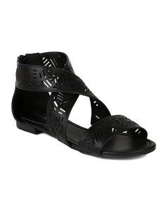 Fashion Bug Women Leatherette Open Toe Tribal Cutout Strappy Flat Sandal - Black. www.fashionbug.us #FashionBug