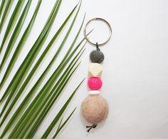 Schlüsselanhänger mit Filzkugeln in unterschiedlichen Größen in den Farben hellbraun-beige, pink und schwarz und Holzlinse, bzw. -perle in weiß und natur-holzfarben. Aufgefädelt auf eine schwarze Kordel. Dieser Schlüsselanhänger hat eine Länge von ca. 10,5 cm. Gerne kann ich auch einen Schlüsselanhänger nach deinen Vorstellungen herstellen.
