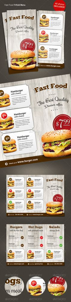 Trifold  Fast Food Menu Flyer  - Food Menus Print Templates