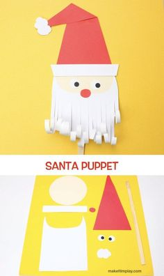 This project is a cute paper Santa puppet for the kids to make and play with! Christmas Decorations Diy For Kids, Christmas Crafts For Kids To Make, Christmas Activities For Kids, Christmas Paper Crafts, Paper Crafts For Kids, Preschool Crafts, Kids Christmas, Easy Art For Kids, Puppets For Kids