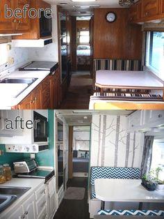Camper Renovation 592434525967519462 - RV / Motorhome Interior Remodel- really like the brightness after the remodel. RV / Motorhome Interior Remodel- really like the brightness after the remodel. Interior Motorhome, Rv Interior, Interior Ideas, Interior Designing, Modern Interior, Camping Vintage, Vintage Camper, Vintage Rv, Kombi Trailer