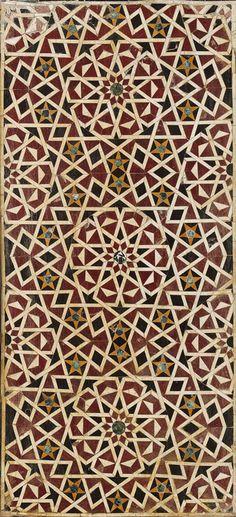 Dado panel, first half of 15th century; Mamluk  Egypt  Polychrome marble mosaic