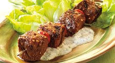 Check out this delicious recipe for Beef and Tomato Kabobs with Dill Dressing from Weber—the world& number one authority in grilling. Weber Grill Recipes, Grilling Recipes, Meat Recipes, Cooking Recipes, Seafood Recipes, Beef Kabob Marinade, Beef Kabobs, Kebabs, Bbq Beef Ribs