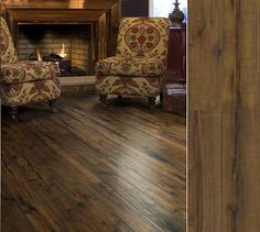 Shaw laminate in a gorgeuos hand-hewn visual. Style Timberline, color Sawmill Hickory.