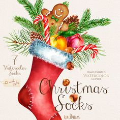 Watercolor Christmas Socks with Gifts, Santa clipart, Holiday, New Year decoration, Hand painted clip art. DIY Invitations, Greeting card
