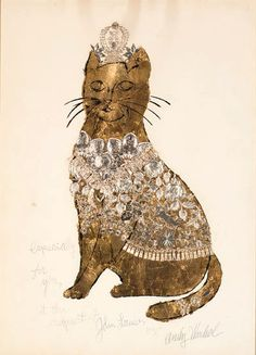 Les grandpères ont toujours tort Andy Warhol - Golden Cat - collage of gold leaf and gold trim over blotted black ink on paper - Executed in 1956 Crazy Cat Lady, Crazy Cats, Illustrations, Illustration Art, Cultura Pop, Famous Artists, Oeuvre D'art, Kitsch, Pittsburgh