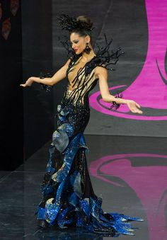 Monic Perez, Miss Puerto Rico 2013, models in the National Costume contest at Vegas Mall on November 3, 2013. (Credit: Darren Decker/Miss Universe2013