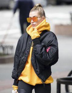 Yellow hoodie, black jacket