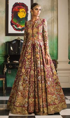 Pakistani Wedding Outfits, Bridal Outfits, Ball Dresses, Long Dresses, Elegant Dresses, Pretty Dresses, Ball Gowns, Asian Bridal, Indian Attire