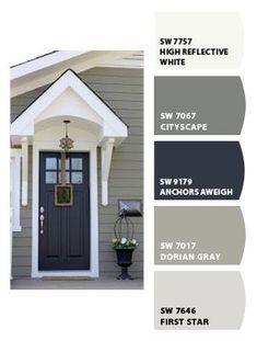 Pintar cores do ColorSnap por Sherwin-Williams - Haus - Fachadas Exterior Paint Colors For House, Paint Colors For Home, Siding Colors For Houses, Exterior Paint Ideas, Gray Exterior Houses, Grey Siding House, Cottage Exterior Colors, Vinyl Siding Colors, Vinyl House Siding