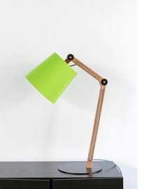 Georgette table lamp in Tas Oak with powdercoated steel base and linen shade, by Stuart Williams / Touching Space.