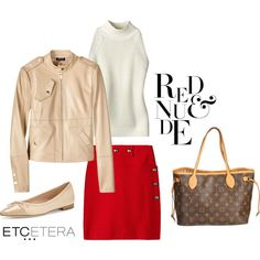 Etcetera: IMAGE leather jacket, VIVA ivory sweater, CALIENTE red skirt. by etcetera-nyc on Polyvore featuring Manolo Blahnik, Louis Vuitton, Etcetera, WorkWear, casuallifestyle, spring2016, etceteracollection and etceteranyc