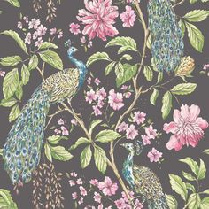 Peacock Wallpaper for the downstairs cloakroom  Hibiscus Charcoal wallpaper by Sophie Conran
