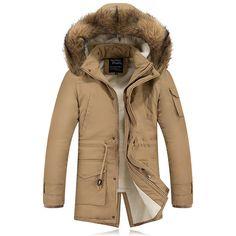 Mens Winter Thick Fleece Casual Coat Outdoor Multi-pocket Solid Color Hooded Detachable Jacket - Banggood Mobile