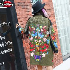 >> Click to Buy << 7mang 2017 new women spring street green camouflage flower printing trench novel long loose rivet fringe coat #Affiliate