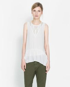 BLOUSE WITH LACE TRIM DETAILING ZARA