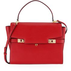Henri Bendel Uptown Satchel found on Polyvore featuring bags, handbags, red, leather purse, genuine leather purse, red leather satchel, red purse and leather handbags
