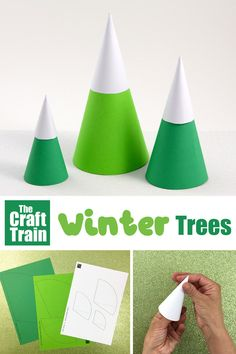 Make some simple Winter trees using paper cones with our printable template. This is a fun Christmas paper craft idea and would also make a great WInter craft for kids. Winter Crafts For Kids, Paper Crafts For Kids, Crafts For Kids To Make, Fun Crafts, Christmas Paper Crafts, Diy Christmas Ornaments, Christmas Trees, Easy Arts And Crafts, Arts And Crafts Projects