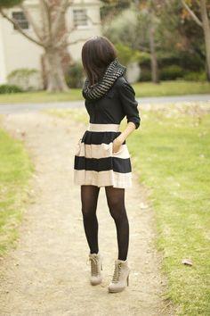 high waisted stripe skirt cute outfit