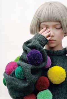 Look Fashion, Kids Fashion, Tavi Gevinson, Pom Pom Sweater, Tacky Sweater, Gray Sweater, Mode Editorials, Rei Kawakubo, Mode Style