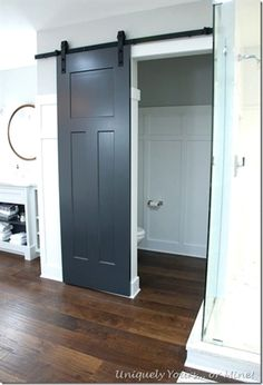 Double Shaker Style Barn Doors Painted Navy Blue Patina