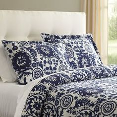 Adorned with a playful mix of suzani patterns and patches of overlay, the Ravina Duvet brings global inspiration to your bedroom decor. Features Made of cotton Machine wash separately in cold water Imported Color: Navy Waverly Bedding, Duvet Bedding Sets, Luxury Bedding Sets, Comforters, Modern Bedding, Bedspreads, Duvet Cover Sizes, Bed Duvet Covers, Navy Duvet